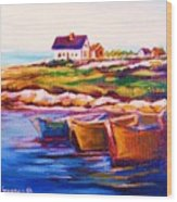Peggys Cove  Four  Row Boats Wood Print
