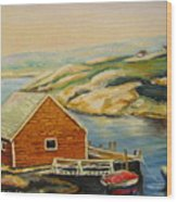 Peggys Cove  Harbor View Wood Print