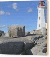 Peggys Cove Light House Wood Print