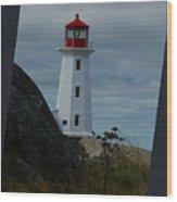 Peggys Cove Lighthouse Wood Print