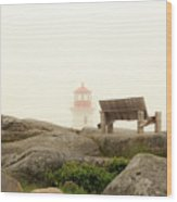 Peggy's Cove Lighthouse And The Banch Wood Print
