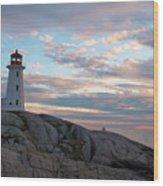 Peggys Cove Lighthouse At Dusk Wood Print