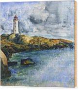Peggy's Cove Lighthouse Landscape Wood Print