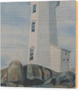 Peggys Cove Lighthouse Wood Print