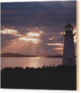 Peggy's Cove Lighthouse Silhouette Wood Print