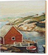 Peggys Cove Nova Scotia Landmark Wood Print