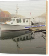 Peggy's Cove Tours Boat In The Rain Wood Print