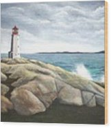 Peggys Light Nova Scotia Wood Print