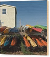 Pei Kayaks Building And Sky Wood Print