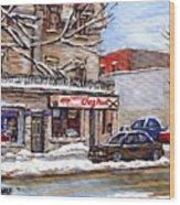 Peintures Petits Formats A Vendre Montreal Original Art For Sale Restaurant Chez Paul The Pointe Psc Wood Print