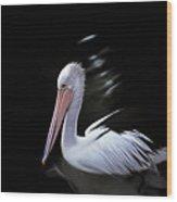 Pelican At Dusk Wood Print