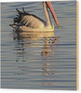 Pelican At Sunset 1 Wood Print