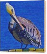 Pelican On Dock Looking Down Wood Print
