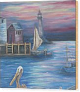 Pelican Port Wood Print