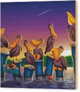 Pelican Sunset Whimsical Cartoon Tropical Birds Seascape Print Blue Orange Purple Yellow Wood Print