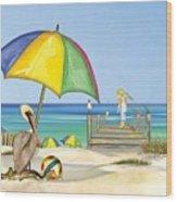 Pelican Under Umbrella Wood Print