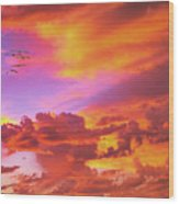 Pelicans Flying Into Sunset  Wood Print