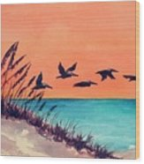 Pelicans Flying Low Wood Print