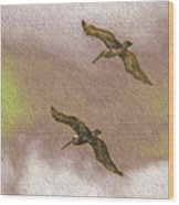 Pelicans On Cave Wall Wood Print