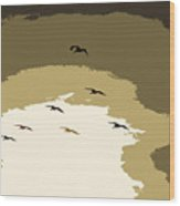 Pelicans On The Wing Wood Print