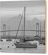 Pell Bridge Newport Harbor Newport Ri Rhode Island Purple Sunset Black And White Wood Print