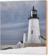 Pemaquid Point Lighthouse In Winter Wood Print