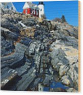 Pemaquid Point Lighthouse Reflection - Seascape Landscape Rocky Coast Maine Wood Print
