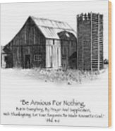 Pencil Drawing Of Old Barn With Bible Verse Wood Print