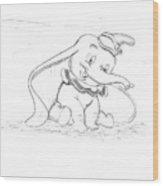 Pencil Drawing Of Walt Disney's Dumbo Wood Print