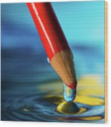 Pencil Drip Wood Print