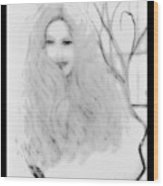 Pencil Sketch Of Blonde Hair Girl Wood Print