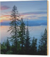 Pend Oreille Sunset Wood Print