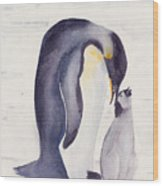 Penguin And Baby Wood Print