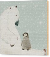 Penguin And Bear Wood Print