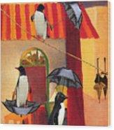 Penguin Cafe Wood Print