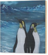Penguin Family Expectant Again Wood Print by Cynthia Adams