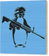 Penguin Soldier Wood Print by Pixel Chimp