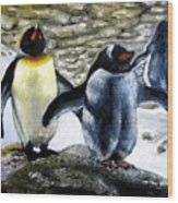 Penguines Original Oil Painting Wood Print
