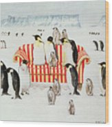 Penguins On A Red And White Sofa  Wood Print by EB Watts