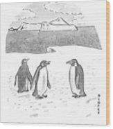 Penguins On Antarctica Wood Print