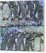 Penguins On Parade Wood Print