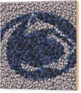 Penn State Bottle Cap Mosaic Wood Print by Paul Van Scott