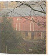 Pennsylvania German Barn In The Mist Wood Print