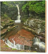 Pennsylvania Red Rock Falls Wood Print
