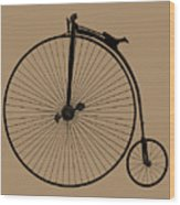 Penny Farthing Sepia Wood Print