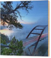 Pennybacker Bridge In Morning Fog Wood Print