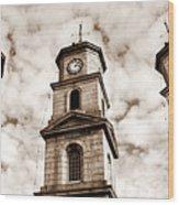Penryn Clock Tower In Sepia Wood Print