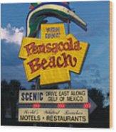 Pensacola Beach Sign At Sunset Wood Print