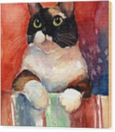 Pensive Calico Tubby Cat Watercolor Painting Wood Print