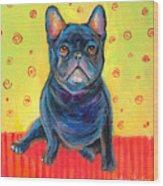 Pensive French Bulldog Painting Prints Wood Print